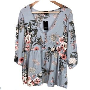 Torrid 💼 blue with pink floral baby doll top